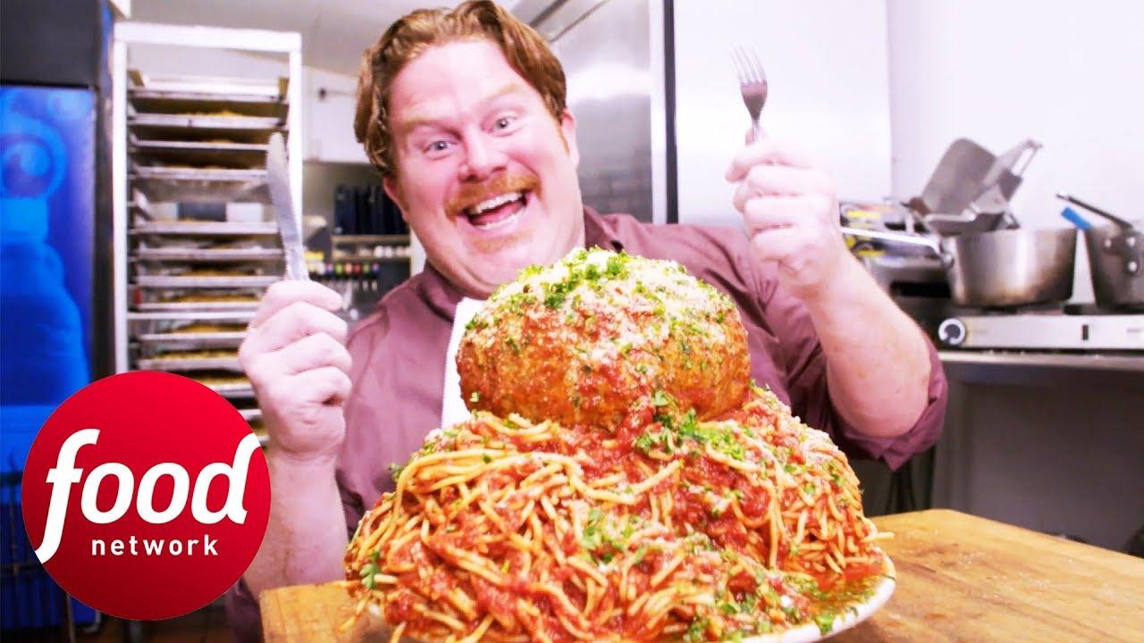 Making St Louis' Monstrous Meatball & Spaghetti Dish