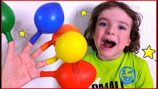 Makar and Teletubbies play with balloons and song Daddy finger