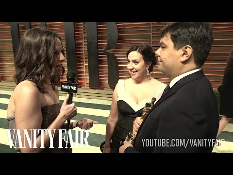 Frozen Composers Kristen Anderson-Lopez & Robert Lopez at the 2014 Vanity Fair Oscar Party