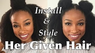 How to Install/Blend & Style Her Given Hair Kinky Clip Ins | Top Knot &Double Bun