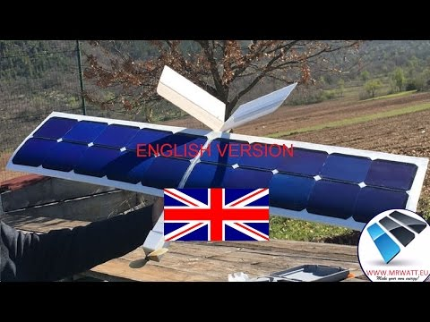 RC Plane solar powered with solar cells without battery endless flight solar drone