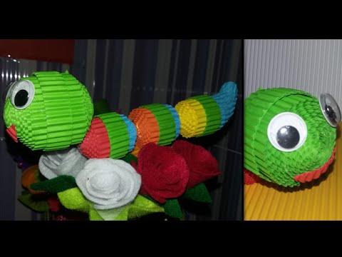 DIY caterpillar / worm from corrugated paper / kokoru paper