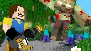Monster School : Hello Neighbor Epic Zombie Apocalypse Challenge - Minecraft Animation