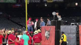 Singing Happy Birthday to Nick Jonas at the Angels Stadium with Joe Jonas and Frankie Jonas