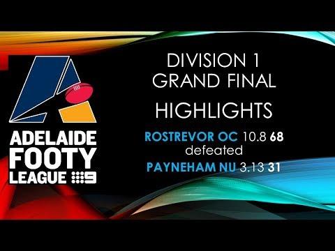 Adelaide Footy 2017 Grand Final Highlights - Div 1 Rostrevor OC v Payneham NU