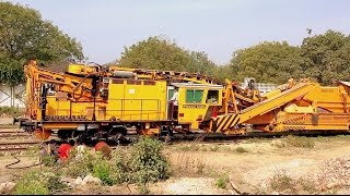INDIAN RAILWAYS Brand new Plasser India track testing machines outside their factory in Faridabad