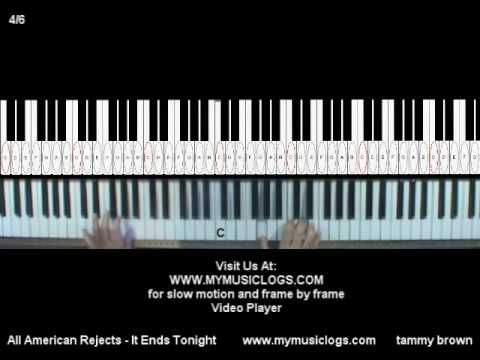How To Play All American Rejects - It Ends Tonight - Piano - Tutorial