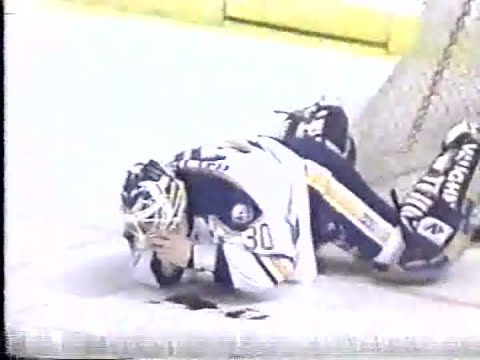 Clint Malarchuk Accident Live Tv Version Graphic Youtube