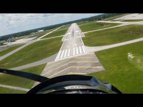 North American T-6 Texan landing (Cockpit view)