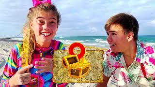 Nastya y Artem juegan juegos divertidos en la playa y encuentra el tesoro