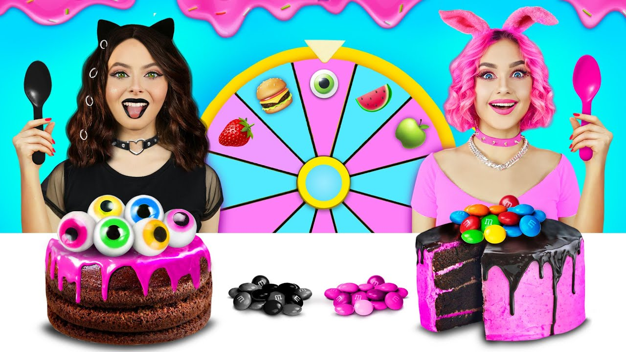 Black VS Pink Food Decorating Challenge! Only One Color Sweets Decorating Ideas by RATATA CHALLENGE