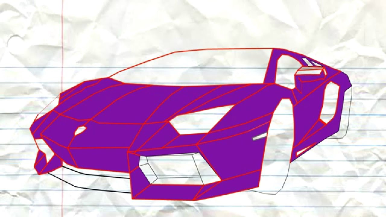 Lamborghini Aventador: Drawn Template