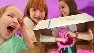 What's in THE BOX??  Adley & Niko play hide n guess mystery game inside BOYS vs GiRLS with Mom & Dad