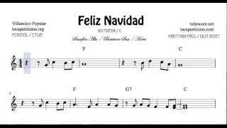 Feliz Navidad Partitura de Saxofón Alto, Saxofón Barítono y Trompa o Corno en Mi bemol Villancico