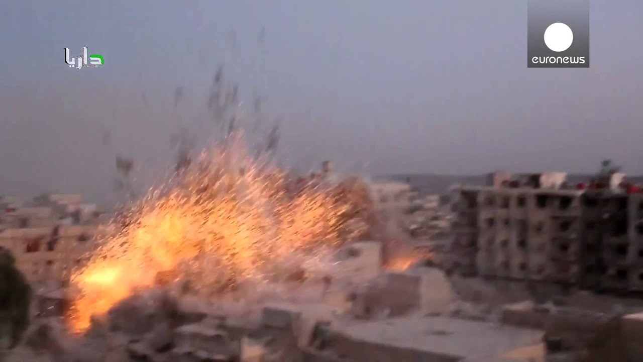 6 'barrel bombs' cause huge explosion in Syria - YouTube