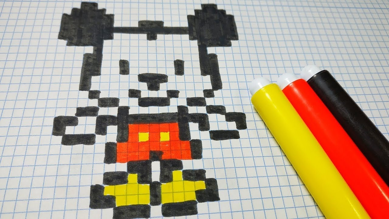 How To Draw Mickey Mouse Pixel Art Tutorial Step By Step