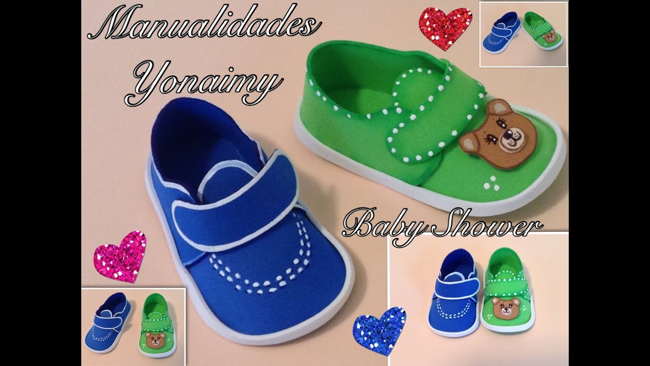 Decoracion Baby Shower Varon ~ ZAPATITOS DE NI?O EN FOAMY O GOMA EVA PARA BABY SHOWER YouTube
