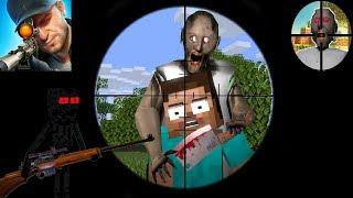 Monster School : SNIPER 3D GUN SHOOTER SHOOT GRANNY CHALLENGE PART 2 - Minecraft Animation
