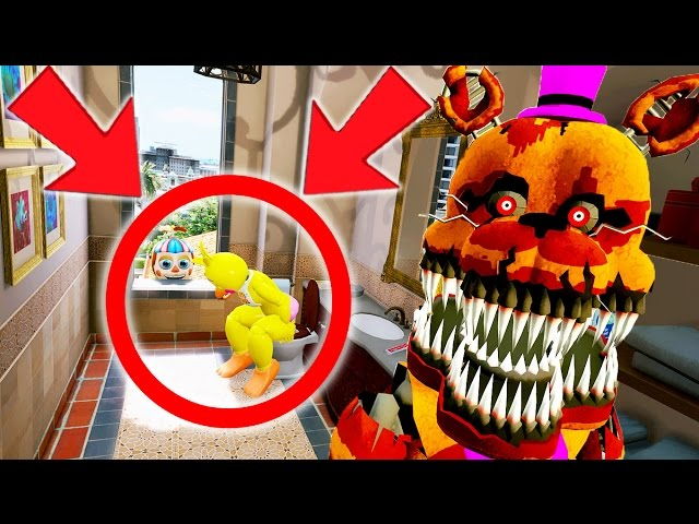 NIGHTMARE FREDBEAR CAUGHT CHICA POOPING! AWKWARD! (GTA 5 Mods For Kids FNAF Funny Moments)