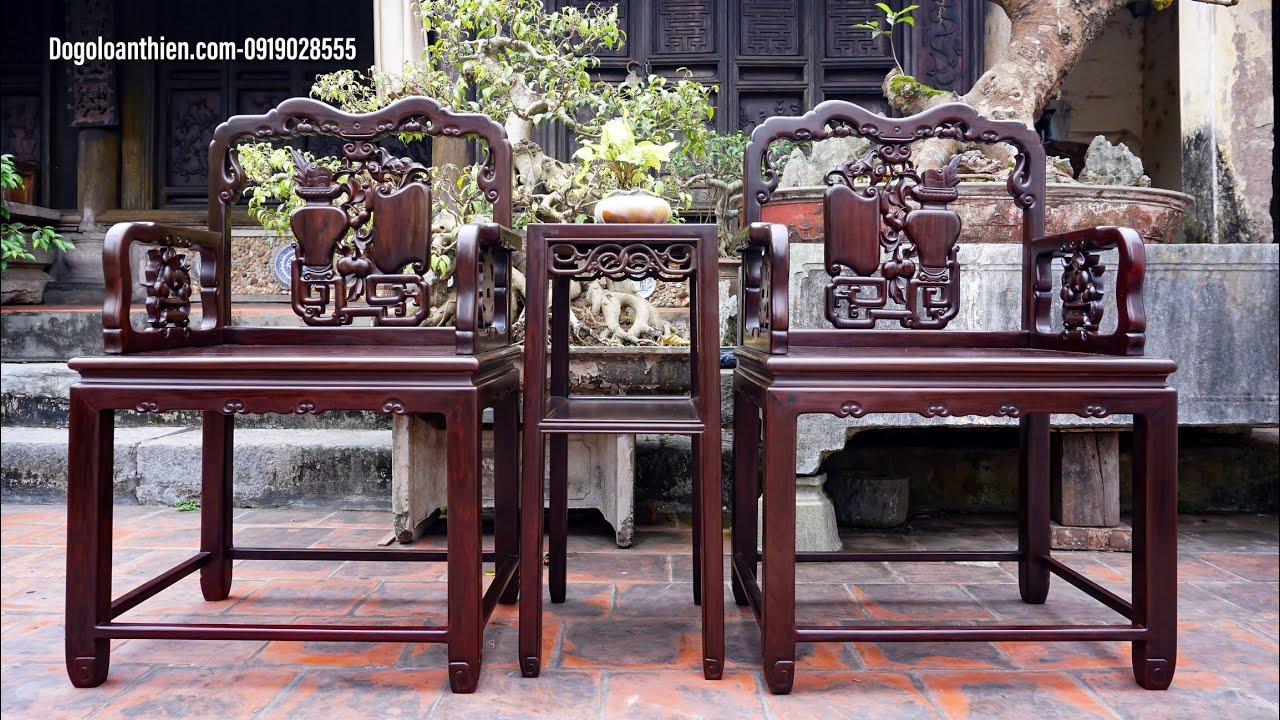 Bộ ghế vách tàu gỗ trắc giao lưu với khách tại Hà Nội