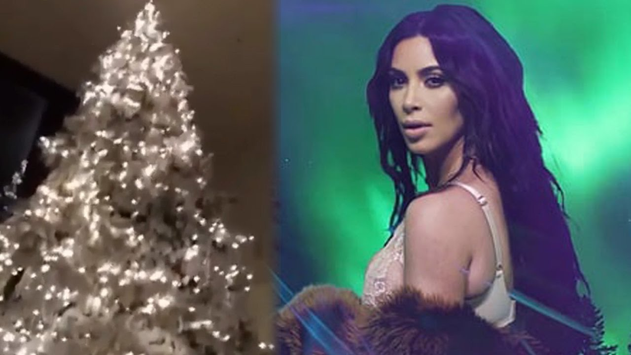 Kim Kardashian Shows Off Extravagant Christmas Tree & Lights - YouTube