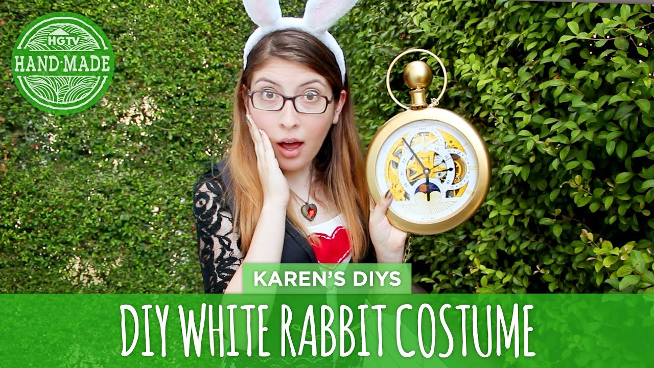 Diy white rabbit costume from alice in wonderland hgtv handmade its youtube uninterrupted solutioingenieria Gallery