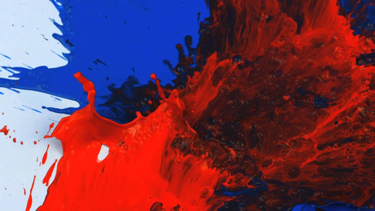 slow motion red and blue on white paint splatter - youtube