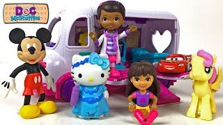DOC MCSTUFFINS ON THE GO WITH MOBILE CLINIC MCQUEEN MICKEY MOUSE MLP & HELLO KITTY - STORY WITH TOYS