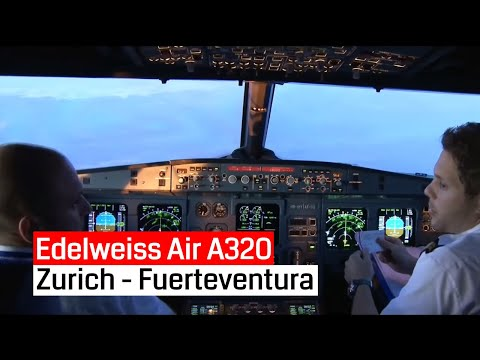 Edelweiss Air Airbus A320 Zurich - Fuerteventura and back (Cockpit, Jumpseat, Cabin)