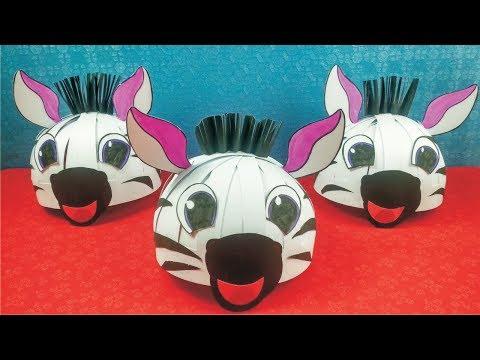How to make animal mask l Zebra Helmet Cap l How to make zebra mask l Diy paper mask