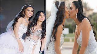 دينا بـ بدلة رقص فاضحة في زفاف شقيقة رنا رئيس.. والعروس تُقبّل والدتها على فمها