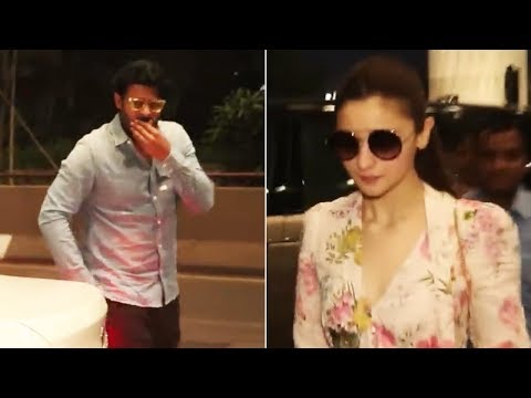 Prabhas And Alia Bhatt Spotted at Mumbai Airport | Manastars