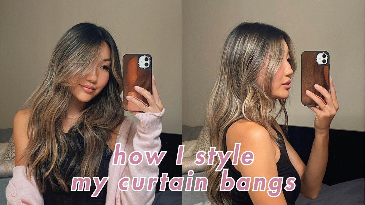 How I Style Curtain Bangs Curl My Hair Effortless Curls Cut And Color Fave Products Youtube