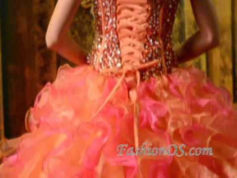 8c20aa6198 Multi-Color Strapless Organza Beading and Ruffles Quinceanera Dress ...
