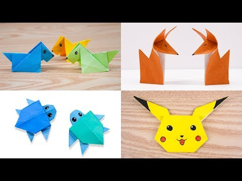 04 Easy origami Cute animal - Dogs/Foxes/Turtles/Pikachu