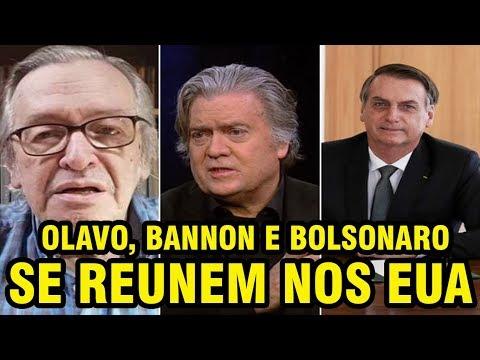 OLAVO DE CARVALHO   STEVEN BANNON   JAIR BOLSONARO   SE REUNEM NOS EUA