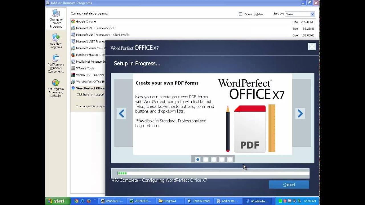 Uninstall Wordperfect Office X7 V17 0