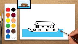 how to draw a Boathouse