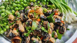 ก้อยน้องเชอรี่ (ก้อยหอยเชอรี่) และวิธีการทำให้หอยขาว กรอบเด้ง ไม่คาว