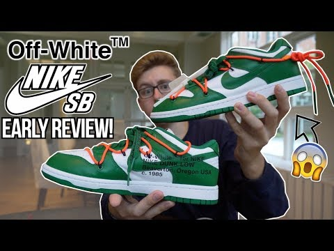 """crazy-off-white-x-nike-sb-dunk-low-""""pine-green""""-early-in-hand-review!- -how-to-cop!- -before-you-buy"""