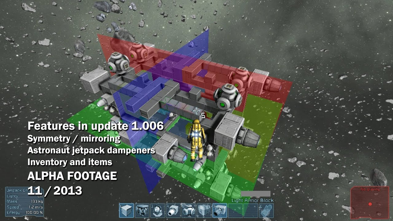 space engineers symmetry mode astronaut jet pack dampeners inventory and items youtube