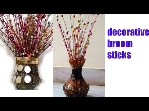 Best Out Of Waste Decorative Broom Sticks Decorative Sticks Making