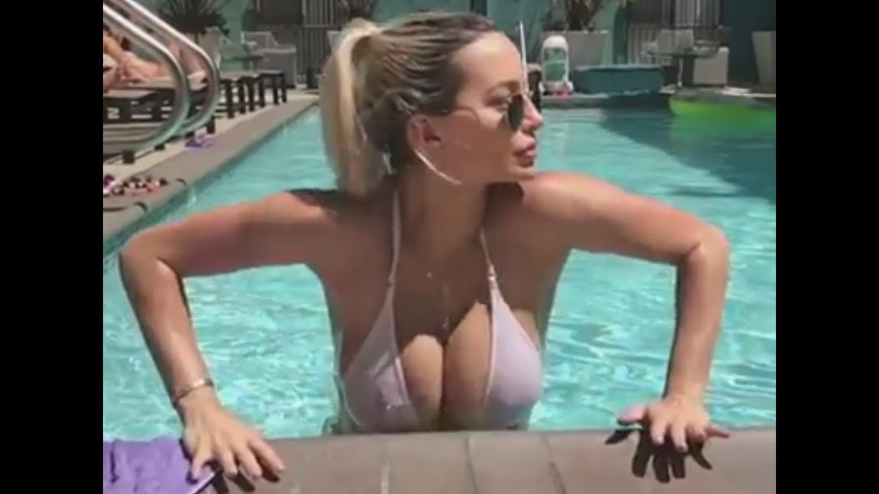 sexy blonde in the pool - big boobs ! - youtube