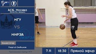 Баскетбол. МССИ XXXII. АСБ. Москва. Девушки. МГУ - МИРЭА