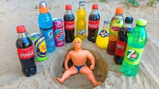 Experiment !! Stretch Armstrong VS Cola, Monster, Fanta, Sprite, Pepsi and Mentos Toilet