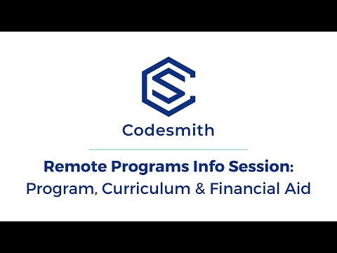Codesmith Information Session: Full-Time & Part-Time Remote Software Engineering Immersive Programs