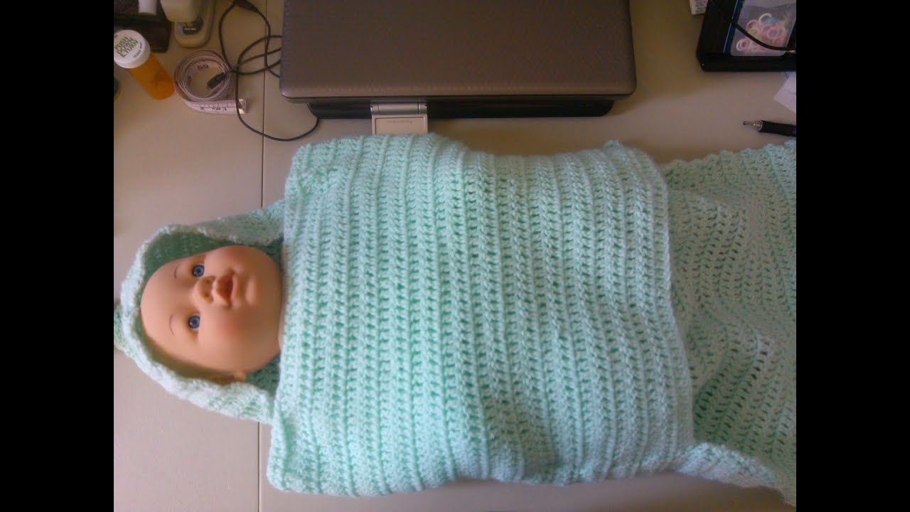Knitting Pattern Swaddling Blanket : Easy Crochet baby swaddler style blanket - YouTube