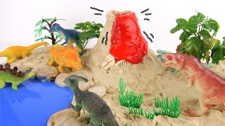 Mini Beach Volcano T-Rex - Learning Dinosaur Names Sound For Kids - Toys DIY Learn Kinetic Sand #32