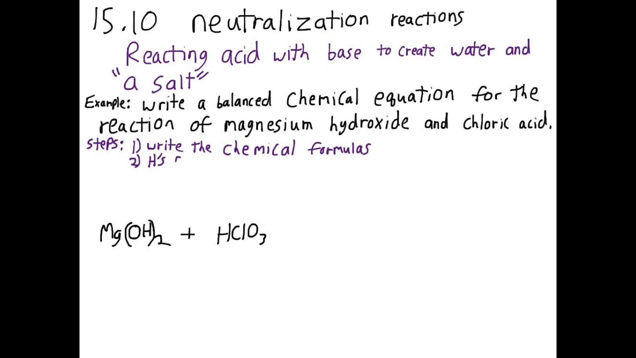 Writing Balanced Equations For Acid Base Neutralization