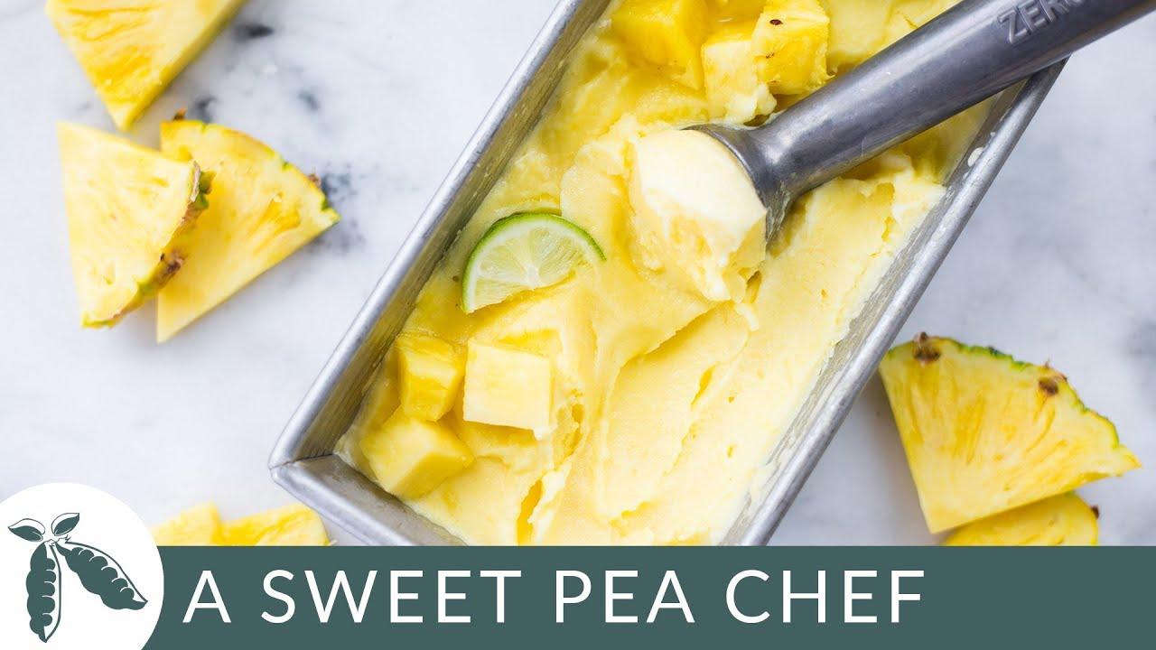 2 Ingredient Pineapple Sorbet Sugar Free Just 45 Calories A Sweet Pea Chef